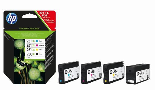 HP 950XL/951XL Tintenpatronen schwarz und dreifarbig